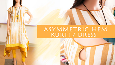 Kurti/Dress Class 7: Asymmetric hem color block Kurti
