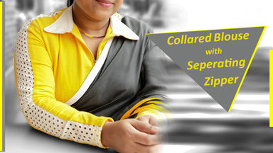 Designer Saree Blouse 3 - Collar & Separating zipper