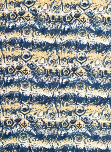 Knit/Stretchy/ Yellow and blue Print fabric 4 way stretch-1mtr