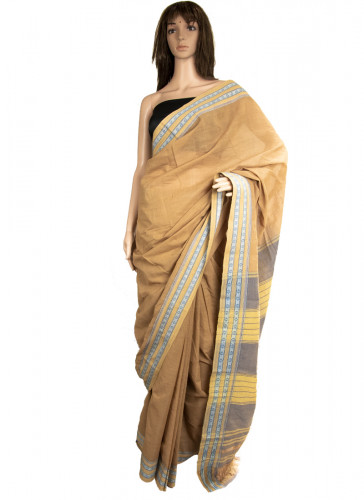 6.25mtrs Pure Cotton, Natural Dyed, Handloom saree-3