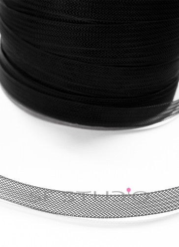 Horsehair Braid / Crinoline trim Black 0.5 Inch - 1 mtr