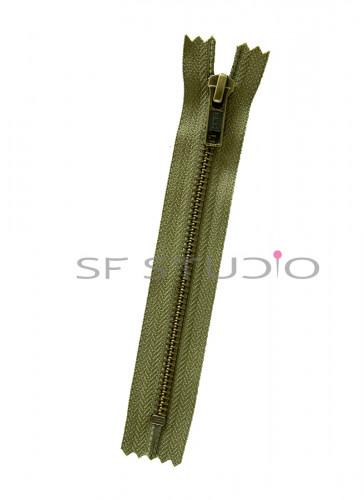 6 inches YKK Jacket Pocket Zip in Antique Brass 5mm Olive Green