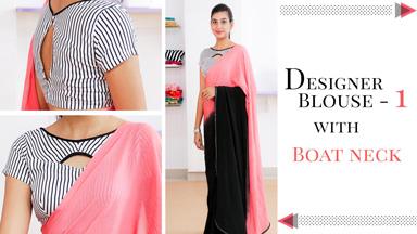 Designer Saree Blouse 1 -  with Boat neck