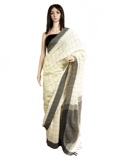 6.25mtrs Pure Cotton, Natural Dyed, Handloom saree-4