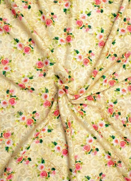 Knit/Stretchy floral fabric-pink flowers with beige base