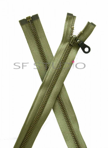 30 inches YKK Open-End Zip in Antique Brass 5mm Olive Green