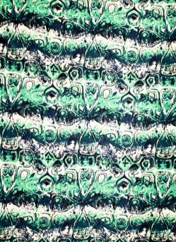 Knit/Stretchy/ Green and blue Print fabric 4 way stretch-1mtr
