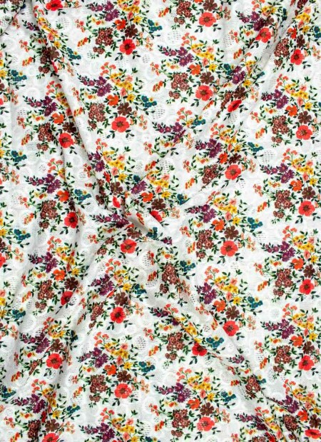 Knit/Stretchy fabric floral with white base 2 way -1mtr