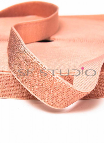 1 mtr Exposed Elastic Knit Peach with Peach Lurex 20mm