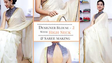 Designer Saree blouse 2 - with High neck & Cut Away Shoulder