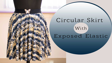 Short Circular skirt in Knit/stretchy fabric & exposed elastic