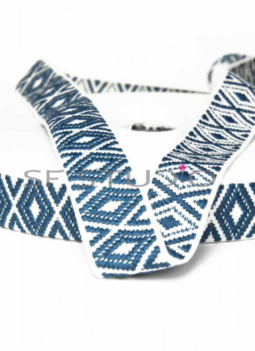 5 Mtrs Blue And White Decorative Lace/Trims - 1 Inch