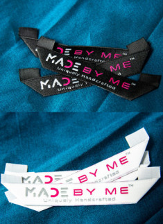 Made By Me™ - Miter Fold woven Label Black & white - 10nos