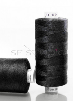 Black TKT 50 AND 80 Denim sewing thread Guetermann - 2 Spools