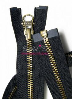 30 inches YKK Open-End Zip in Antique Brass 5mm Black